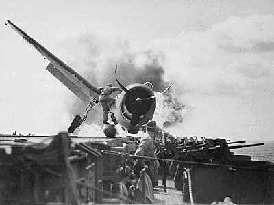 [Crash Landing on Enterprise CV-6 - November 1943]
